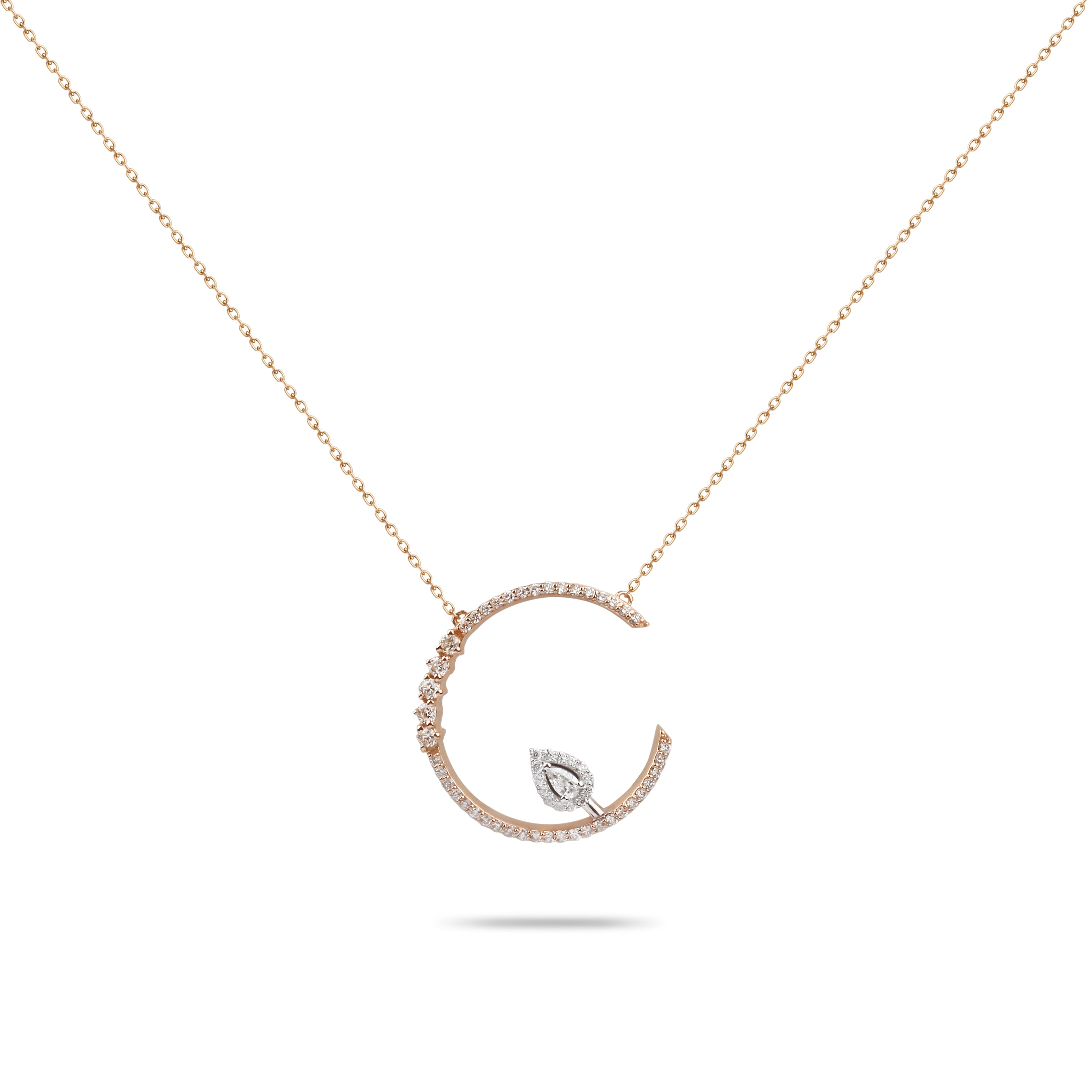 Rose Gold & Diamond Drop Necklace