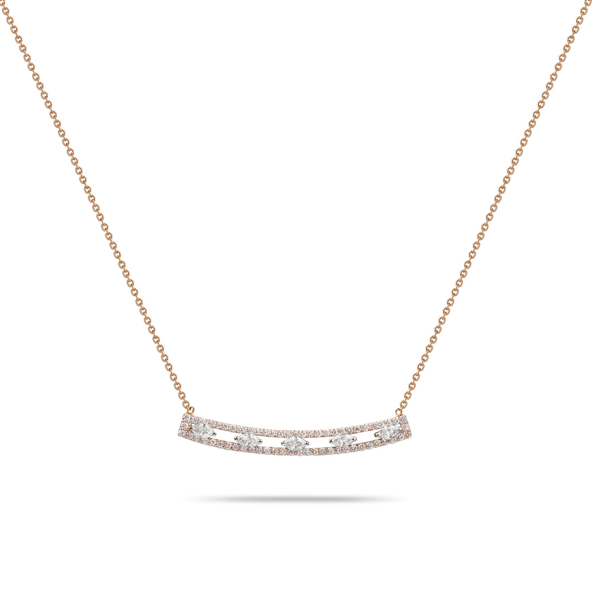 Rose Gold with Marquise Diamonds Necklace