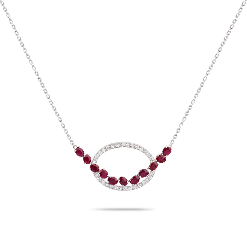 Oval Ruby & Diamond Necklace