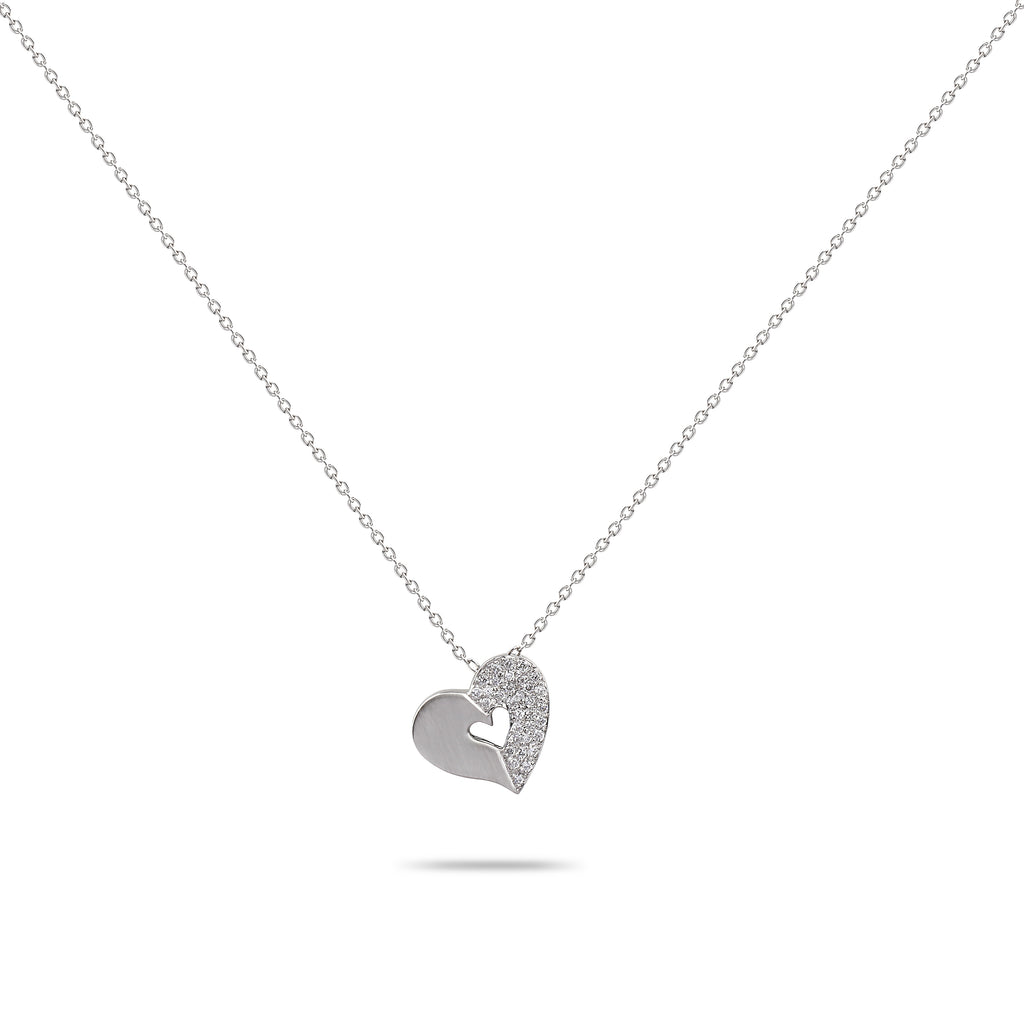 Diamond & White Gold Heart Necklace