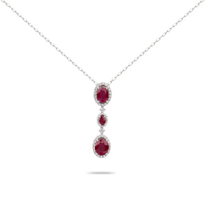 Ruby and Diamonds White Gold Necklace