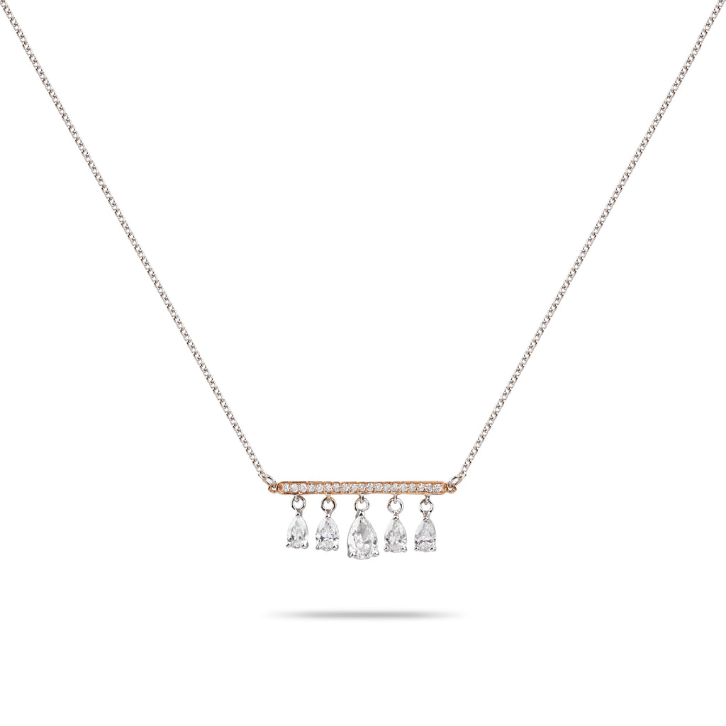Pear Drops with White & Rose Gold Diamond Necklace