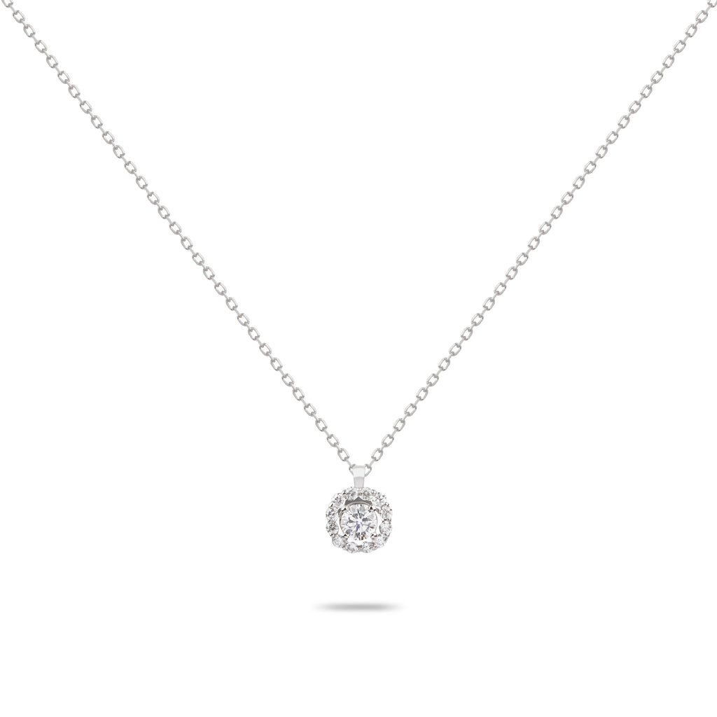 Solitaire Diamond with Frame Necklace