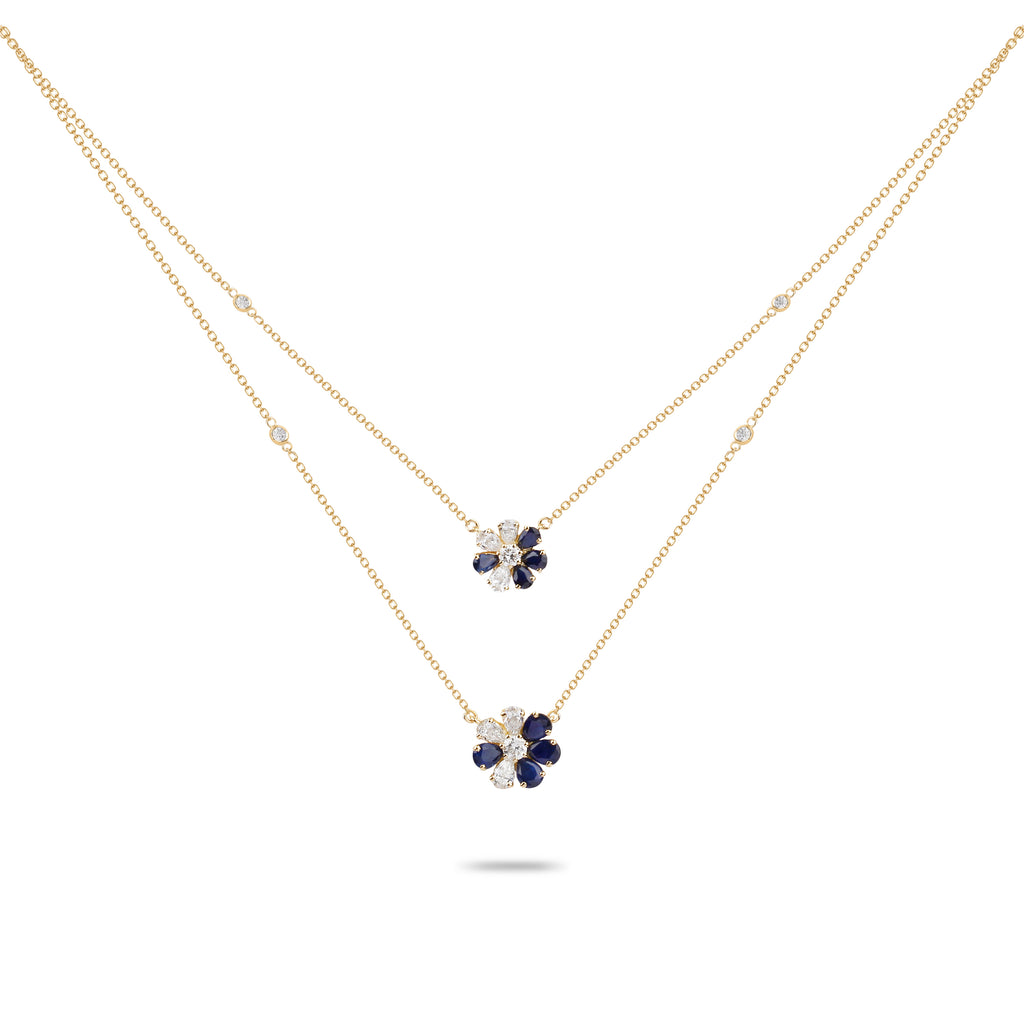 Flower Sapphire & Diamond Double Layer Necklace
