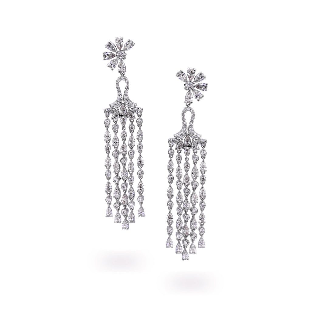 Flower Chandelier Diamond Earrings