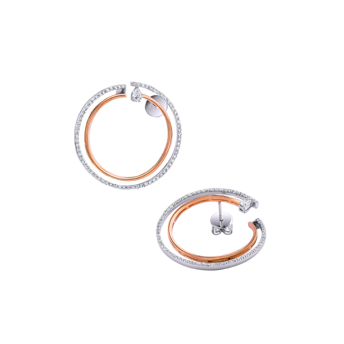 Rose Gold & Diamond Hoop Earrings