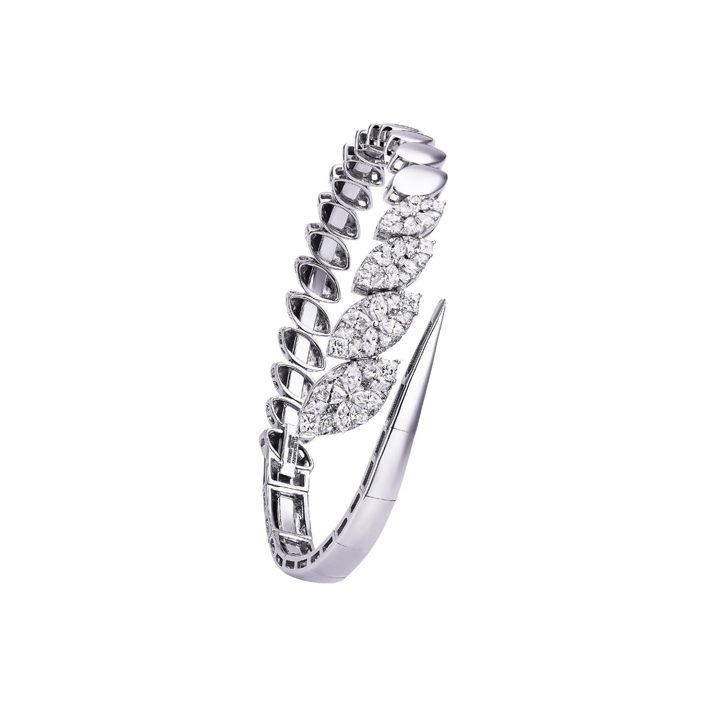 White Gold & Diamond Marquise Illusion Cuff Bracelet