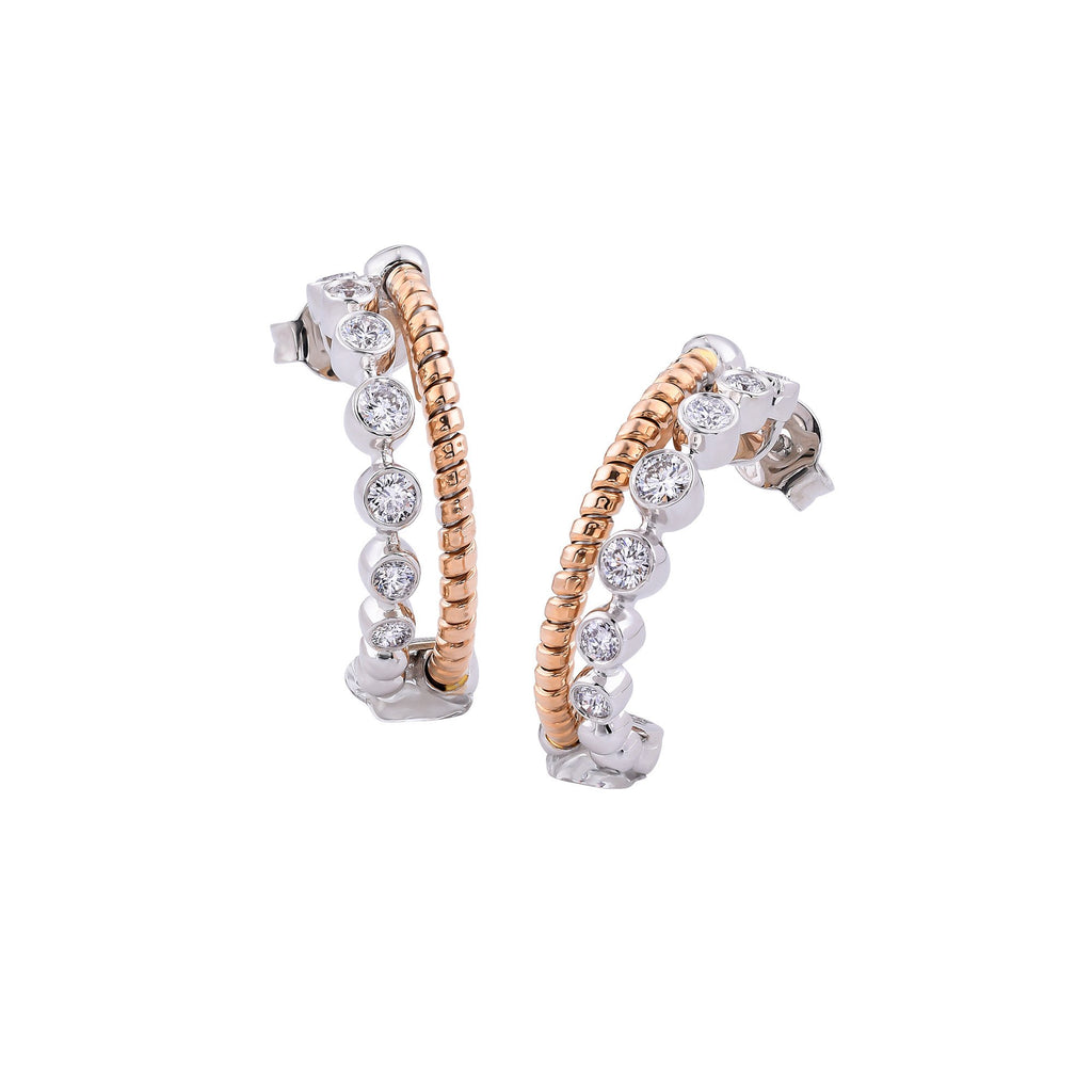 Rose Gold & Diamond Hoop Earring