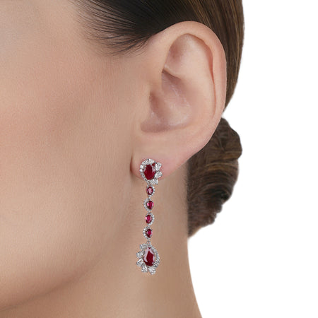 Ruby with Pear shape Diamond Earring