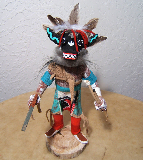 Navajo Ray Tom Black Ogre with Removable Mask Kachina