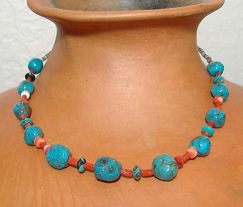 Viola Eteeyan Zuni Coral and Turquoise Necklace