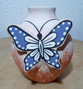 Tony Lorenzo Jemez Pueblo Pottery With Butterfly