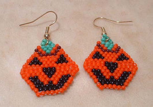 Cyndy Terry Jack o' Lantern Beaded Earrings