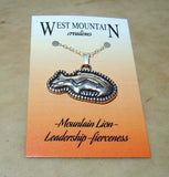 """West Mountain"" Mountain Lion Sterling Silver Zuni Fetish Necklace"