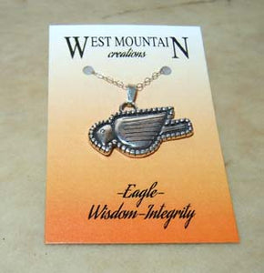 """West Mountain"" Eagle Sterling Silver Zuni Fetish Pendant Necklace"