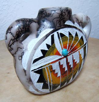Shirley Smith Navajo Pottery Horsehair  Canteen