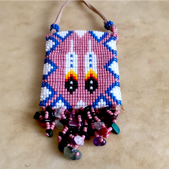 Jerilena Touchin Prayer Feathers Navajo Fully Beaded Pouch/ Necklace Indian Beadwork