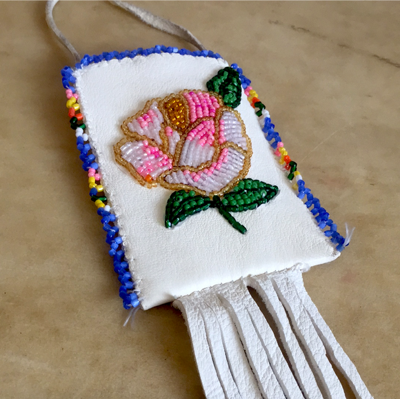 Shirley Smith Navajo Floral Beaded Pouch Indian Beadwork