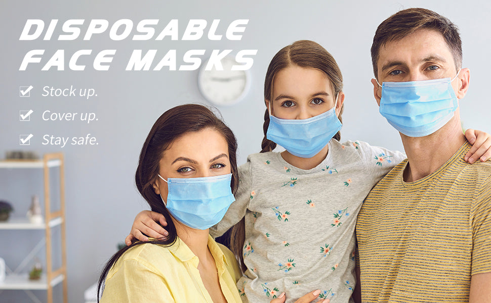 Disposable Face Mask, 3 Ply Protectors with Elastic Earloops, Non Woven, Single Use-Effective Filtration