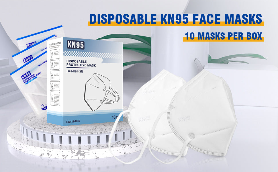 Disposable Face Masks, Non-Woven 5-Layer Disposable Mask, Respiratory Face Protection, Healthy Protector/Filter Against Dusts, Allergens, Fog Haze, Splattering Liquids, 10 Pack Individually Wrapped