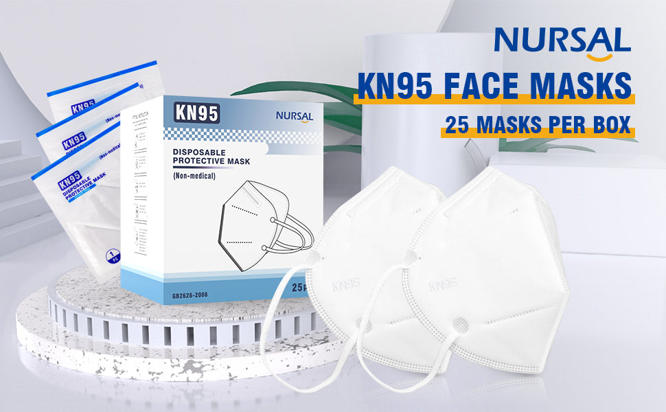 NURSAL Disposable Face Masks, Non-Woven 5-Layer, Respiratory Face Protection, Healthy Protector/Filter Against Dusts, Allergens, Fog Haze, Splattering Liquids, 25 Pack Individually Wrapped