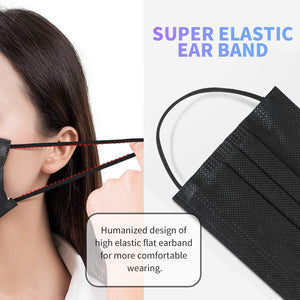 Disposable Face Mask, 3 Ply Protectors with Elastic Earloops *50 pcs (Black/Blue)