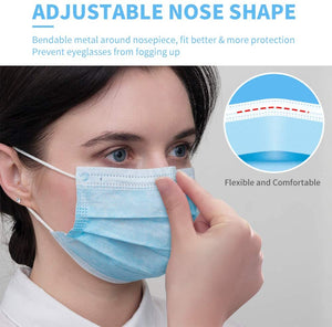 NURSAL Disposable Face Mask, 3 Ply Protectors with Elastic Earloops *50pcs