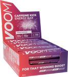 Purple red display box of 20 VOOM Pocket Rocket Caffeine Kick energy bars in berry flavour