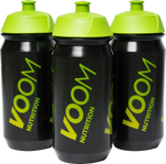 Group of three black sports bottles with green VOOM logo