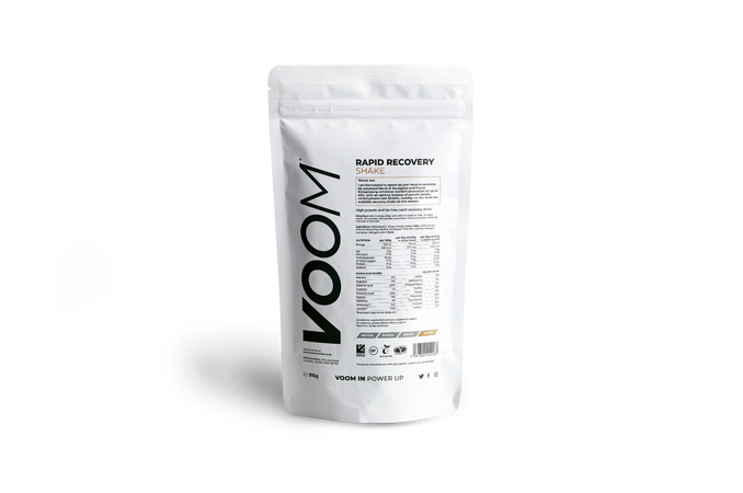 VOOM Rapid Recovery Shake pouch, white with black text and golden brown detail, nutritional tables are shown