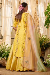 Yellow bouquet kurta with lehenga set