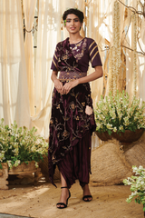 Wine velvet Dhoti saree with a Belt