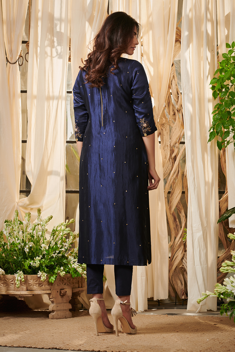 Navy blue lehriya dupatta suit set