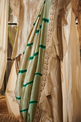 Straight Border Dhoti Saree with a Peplum Shirt