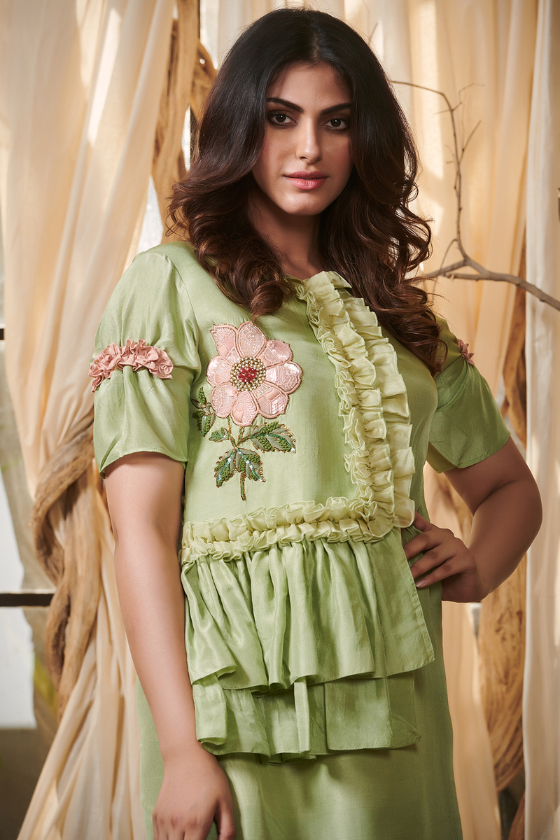 Peach Lehriya Panel Tunic Dress