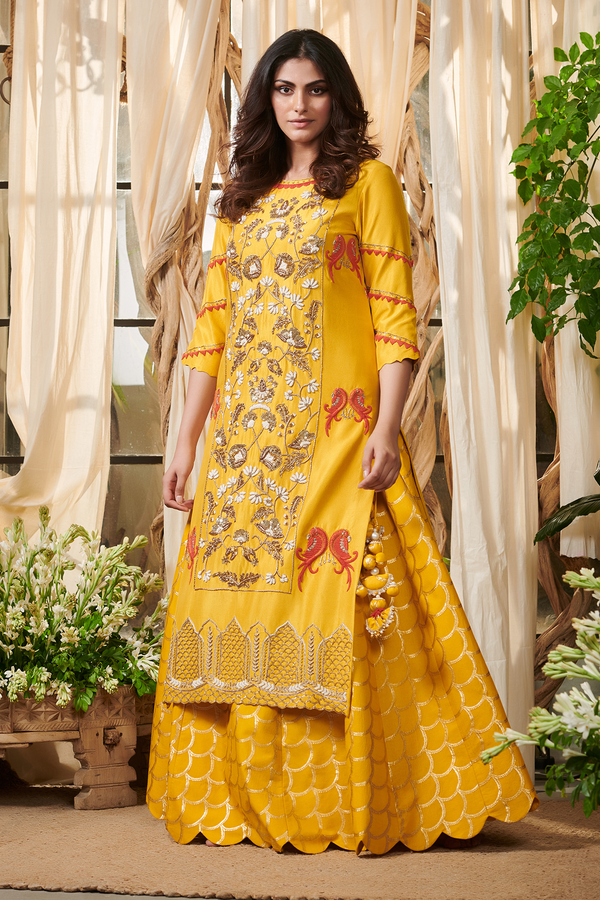 Yellow Pearl jaal kurta with lehenga set