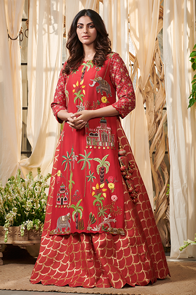 Red Pearl coco palm kurta with lehenga set