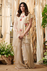 Ivory lily flowers garara suit set