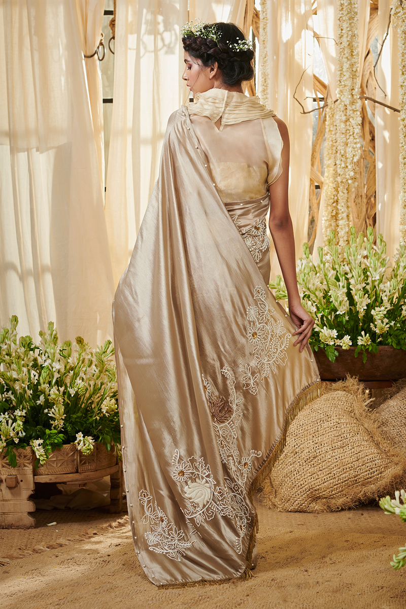 Beige Silk Mothi Jaal Saree