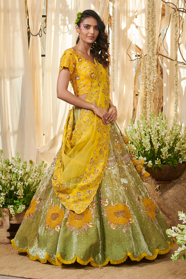 Yellow Rose Lehenga Set