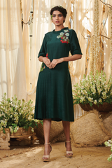 Emerald Green Side Pleated Panel Tunic Dress
