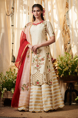 Ivory bouquet kurta with lehenga set