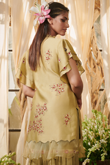 Pista green lily flowers garara suit set