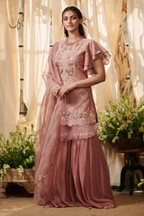 Onion Pink Small Flowers Garara Suit Set