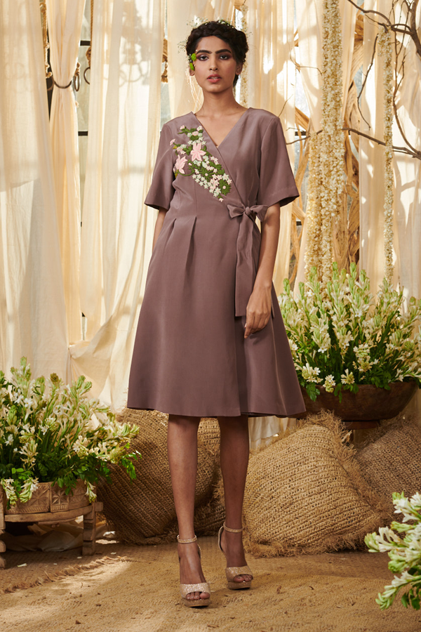 Lilac Front Open Box Pleated Tunic Dress