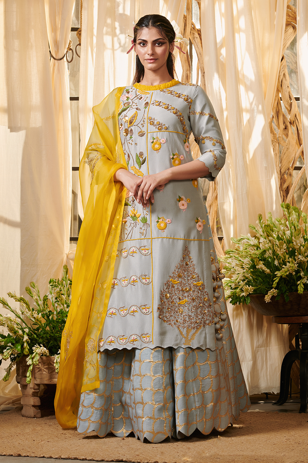 Ash Grey Tree Kurta With Lehenga Set