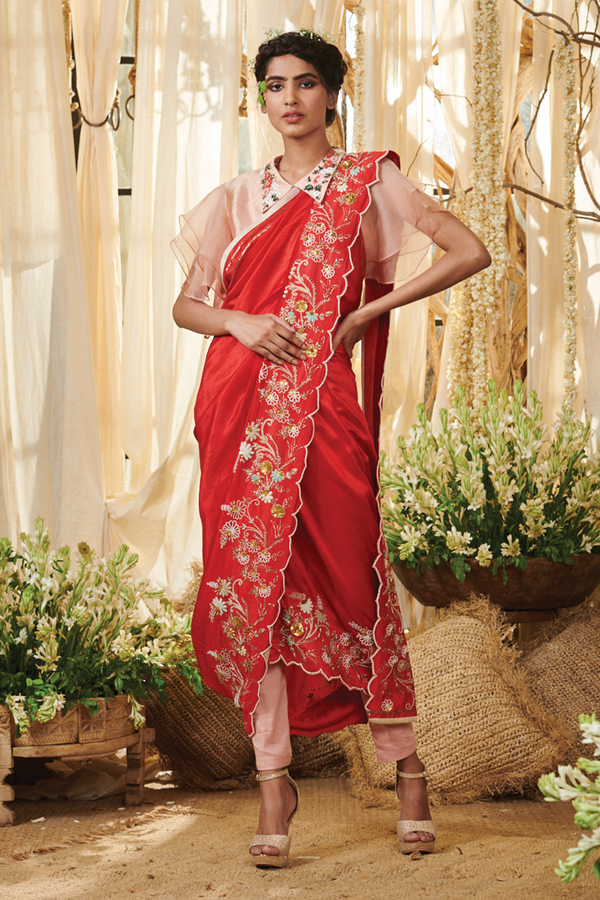 Bush border pant saree