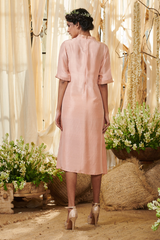 Nude pink side pleated panel tunic dress