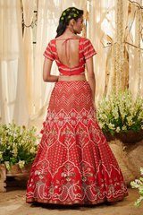 Red Chevron Belt Lehenga Set