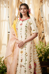 Ivory garden kurta with lehenga set